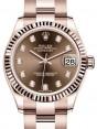 Rolex Datejust 31 Lady Midsize Rose Gold Chocolate Diamond Dial & Fluted Bezel Oyster Bracelet 278275 - BRAND NEW