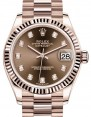 Rolex Datejust 31 Lady Midsize Rose Gold Chocolate Diamond Dial & Fluted Bezel President Bracelet 278275 - BRAND NEW