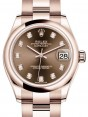 Rolex Datejust 31 Lady Midsize Rose Gold Chocolate Diamond Dial & Smooth Domed Bezel Oyster Bracelet 278245 - BRAND NEW