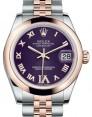 Rolex Datejust 31 Lady Midsize Rose Gold/Steel Purple Roman Diamond VI Dial & Smooth Domed Bezel Jubilee Bracelet 178241 - BRAND NEW
