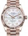 Rolex Datejust 31 Lady Midsize Rose Gold White Mother of Pearl Diamond Dial & Fluted Bezel President Bracelet 278275 - BRAND NEW