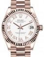 Rolex Datejust 31 Lady Midsize Rose Gold White Roman Dial & Fluted Bezel President Bracelet 278275 - BRAND NEW