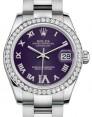 Rolex Datejust 31 Lady Midsize White Gold/Steel Purple Roman Diamond VI Dial & Diamond Bezel Oyster Bracelet 178384 - BRAND NEW