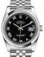 Rolex Datejust 36 Stainless Steel Black Roman Dial & Smooth Domed Bezel Jubilee Bracelet 116200 - BRAND NEW