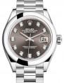 Rolex Lady Datejust 28 Platinum Dark Grey Diamond Dial & Smooth Domed Bezel President Bracelet 279166 - BRAND NEW
