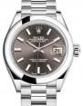 Product Image: Rolex Lady Datejust 28 Platinum Dark Grey Index Dial & Smooth Domed Bezel President Bracelet 279166 - BRAND NEW