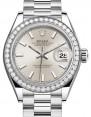Rolex Lady Datejust 28 Platinum Silver Index Dial & Smooth Domed Bezel President Bracelet 279136RBR - BRAND NEW