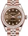 Rolex Lady Datejust 28 Rose Gold Chocolate Diamond IX Dial & Diamond Bezel Jubilee Bracelet 279135RBR - BRAND NEW