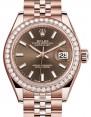 Rolex Lady Datejust 28 Rose Gold Chocolate Index Dial & Diamond Bezel Jubilee Bracelet 279135RBR - BRAND NEW