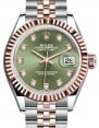 Rolex Lady Datejust 28 Rose Gold/Steel Olive Green Diamond Dial & Fluted Bezel Jubilee Bracelet 279171 - BRAND NEW