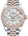 Rolex Lady Datejust 28 Rose Gold/Steel White Mother of Pearl Diamond Dial & Diamond Bezel Jubilee Bracelet 279381RBR - BRAND NEW