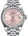 Rolex Lady Datejust 28 White Gold/Steel Pink Index Dial & Fluted Bezel Jubilee Bracelet 279174 - BRAND NEW