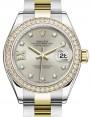 Rolex Lady Datejust 28 Yellow Gold/Steel Silver Diamond IX Dial & Diamond Bezel Oyster Bracelet 279383RBR - BRAND NEW