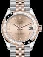 Rolex Lady-Datejust 31 Rose Gold/Steel Rose Roman Dial & Domed Set with Diamonds Bezel Jubilee Bracelet 278341RBR - BRAND NEW