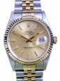 Rolex Datejust 16233 Men's 36mm Champage Index 18k Yellow Gold Stainless Steel Jubilee