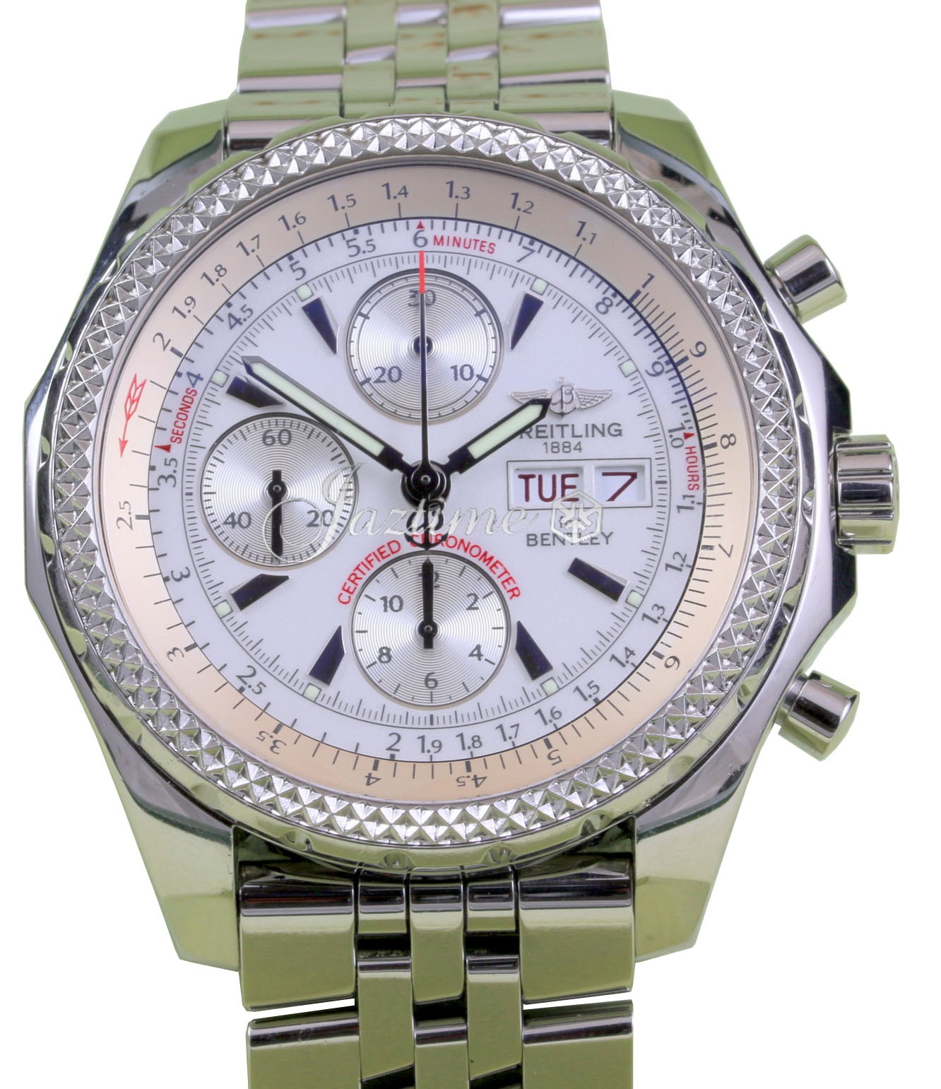 Breitling Stainless Steel Bentley Automatic Wristwatch Ref: Breitling Bentley GT A13362 Stainless Steel Chronograph