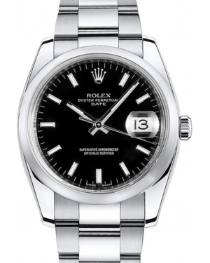 Rolex Oyster Perpetual Date 34 Stainless Steel Black Index Dial & Smooth Bezel Oyster Bracelet 115200 - BRAND NEW