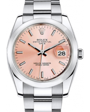 Rolex Oyster Perpetual Date 34 Stainless Steel Pink Index Dial & Smooth Bezel Oyster Bracelet 115200 - BRAND NEW