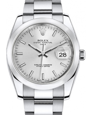 Rolex Oyster Perpetual Date 34 Stainless Steel Silver Index Dial & Smooth Bezel Oyster Bracelet 115200 - BRAND NEW