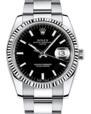 Rolex Oyster Perpetual Date 34 White Gold/Steel Black Index Dial & Fluted Bezel Oyster Bracelet 115234 - BRAND NEW