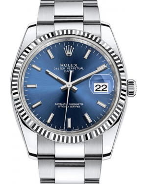 Rolex Oyster Perpetual Date 34 White Gold/Steel Blue Index Dial & Fluted Bezel Oyster Bracelet 115234 - BRAND NEW