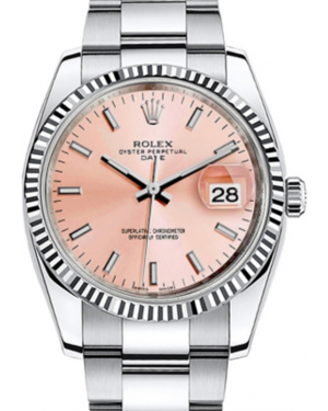 Rolex Oyster Perpetual Date 34 White Gold/Steel Pink Index Dial & Fluted Bezel Oyster Bracelet 115234 - BRAND NEW