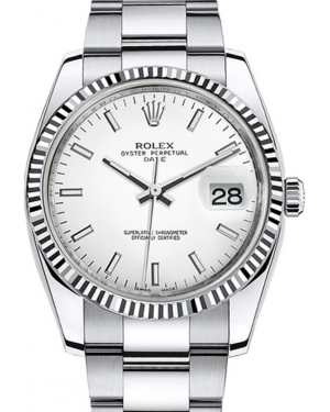 Rolex Oyster Perpetual Date 34 White Gold/Steel White Index Dial & Fluted Bezel Oyster Bracelet 115234 - BRAND NEW