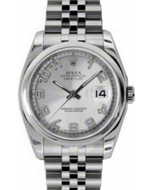 Rolex Datejust 36 Stainless Steel Silver Concentric Circle Motif Arabic Dial & Smooth Bezel Jubilee Bracelet 116200 - BRAND NEW