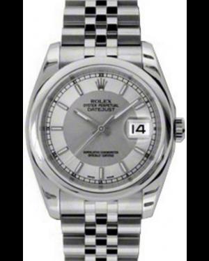 Rolex Datejust 36 Stainless Steel Silver/Steel Index Dial & Smooth Bezel Jubilee Bracelet 116200 - BRAND NEW
