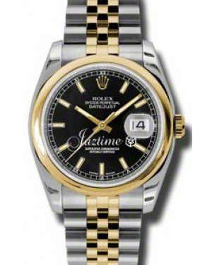 Rolex Datejust 36 116203-BLKSDJ Black Index Yellow Gold Stainless Steel Jubilee BRAND NEW