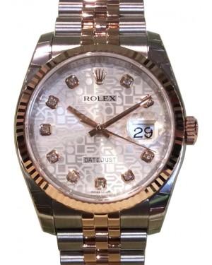 Rolex Datejust 36 Rose Gold/Steel Silver Jubilee Diamond Dial & Fluted Bezel Jubilee Bracelet 116231 - BRAND NEW