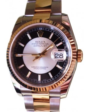 "Rolex Datejust 36 116233-BKSSFO Black and Silver Index ""Tuxedo"" Fluted Yellow Gold Stainless Steel Oyster - BRAND NEW"