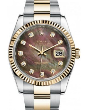 Rolex Datejust 36 116233-DMOPDFO Dark Mother of Pearl Diamond Fluted Yellow Gold Stainless Steel Oyster - BRAND NEW