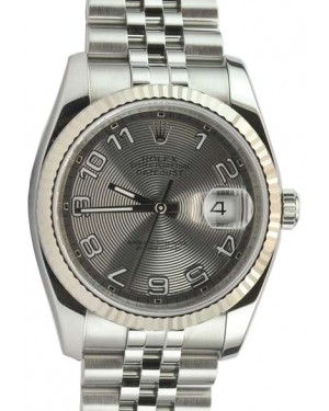 Rolex Datejust 36 116234-SVCAFJ Silver Concentric Arabic Fluted White Gold Stainless Steel Jubilee - BRAND NEW