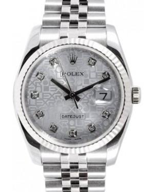 Rolex Datejust 36 116234-SVJDFJ Silver Jubilee Dial Diamond Fluted White Gold Stainless Steel Jubilee - BRAND NEW