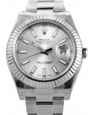 Rolex Datejust II 116334 Silver Index 18k Fluted White Gold Stainless Steel BRAND NEW