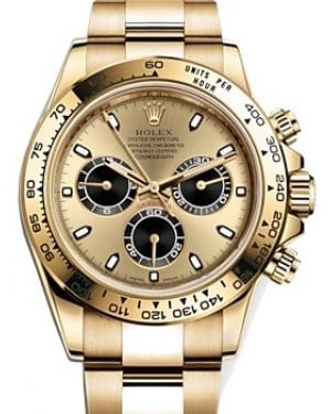 Rolex Daytona Yellow Gold Champagne/Black Index Dial Yellow Gold Bezel Oyster Bracelet 116508 - BRAND NEW