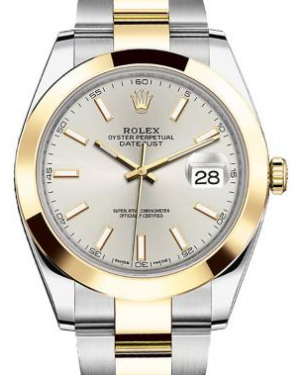Rolex Datejust 41 Yellow Gold/Steel Silver Index Dial Smooth Bezel Oyster Bracelet 126303 - BRAND NEW