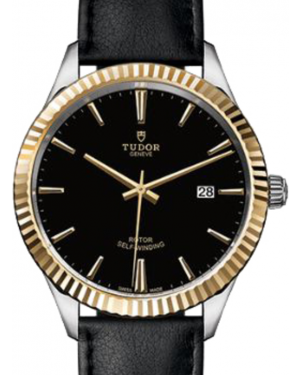 Tudor Style 12713 Black Index Fluted Yellow Gold & Stainless Steel Leather 41mm BRAND NEW