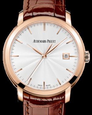 Audemars Piguet 15170OR.OO.A809CR.01 Jules Audemars Selfwinding 39mm Silver Guilloche Index Rose Gold BRAND NEW