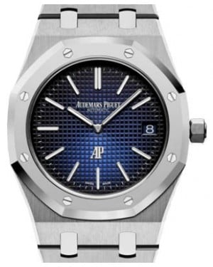 "Audemars Piguet Royal Oak ""Jumbo"" Extra-Thin 15202IP.OO.1240IP.01 Blue Index Titanium 39mm - BRAND NEW"