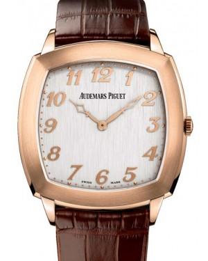 Audemars Piguet 15335OR.OO.A092CR.01 Tradition Extra-Thin 41mm Silver Arabic Rose Gold Leather BRAND NEW