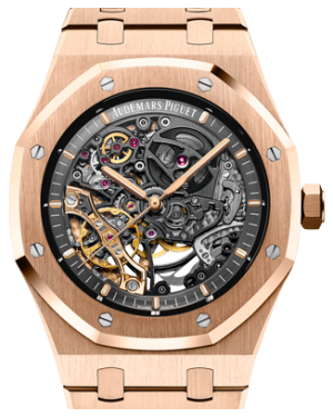 Audemars Piguet 15407OR.OO.1220OR.01 Royal Oak Double Balance Wheel Openworked 41mm Black Skeleton Rose Gold BRAND NEW