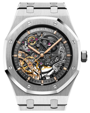 Audemars Piguet 15407ST.OO.1220ST.01 Royal Oak Double Balance Wheel Openworked 41mm Black Skeleton Stainless Steel BRAND NEW