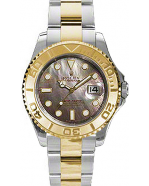 Rolex Yacht-Master 35 168623-BMOP Dark Mother of Pearl White Dial Yellow Gold Bezel Yellow Gold Stainless Steel Oyster - BRAND NEW