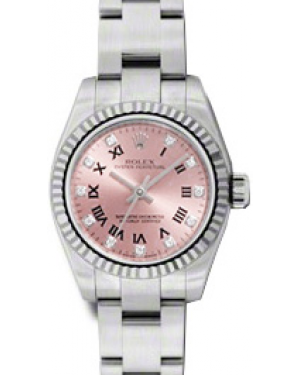 Rolex Lady-Datejust 26 176234-PKRDFO Pink Diamond Roman Fluted White Gold Brushed Stainless Steel Oyster - BRAND NEW