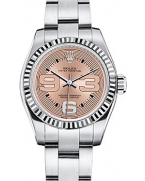 Rolex Oyster Perpetual 26 Ladies White Gold/Steel Pink Maxi Arabic Dial Fluted Bezel & Oyster Bracelet 176234 - BRAND NEW