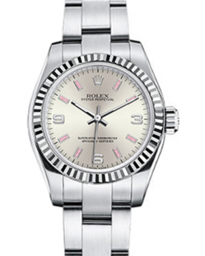Rolex Oyster Perpetual 26 Ladies White Gold/Steel Silver Arabic / Pink Index Dial Fluted Bezel & Oyster Bracelet 176234 - BRAND NEW