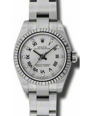 Rolex Lady-Datejust 26 176234-SVRDFO Silver Diamond Roman Fluted White Gold Brushed Stainless Steel Oyster - BRAND NEW