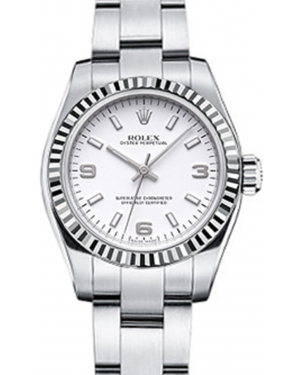Rolex Oyster Perpetual 26 Ladies White Gold/Steel White Arabic / Index Dial Fluted Bezel & Oyster Bracelet 176234 - BRAND NEW